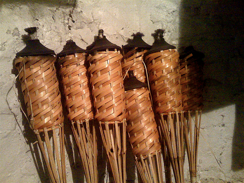 A group of bamboo torches