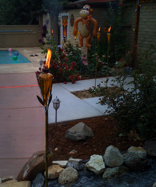 tiki torches placed around a swimming pool
