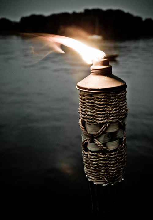 A bamboo torch overlooking a lake