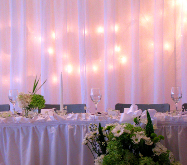 Adding lights to the backdrop of the head table