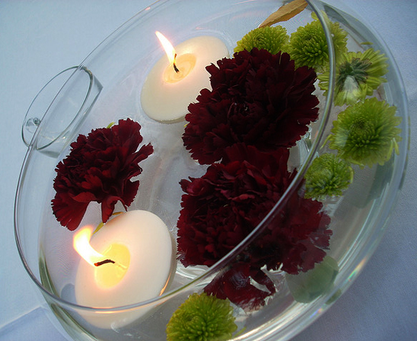 floating candle centerpiece This entry was posted in Wedding Lighting and