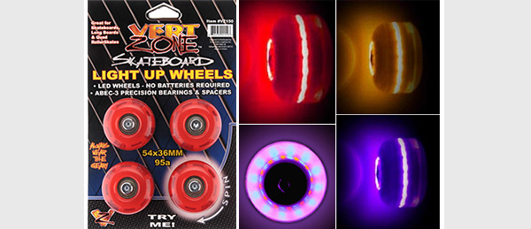 Skateboard wheel lights