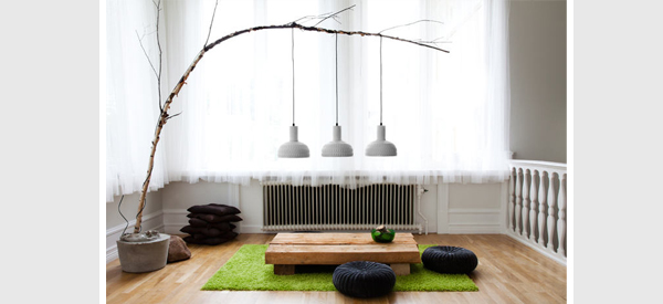 Using wood as a base for lighting diy snapshots lights and lights another floor lamp has been crafted but this time using a fishing pole set into a stone base the fishing pole aches over the living space with a bird aloadofball Gallery