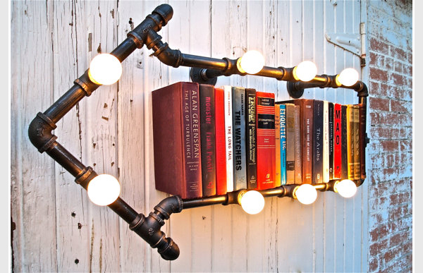 industrial book shelving and lights