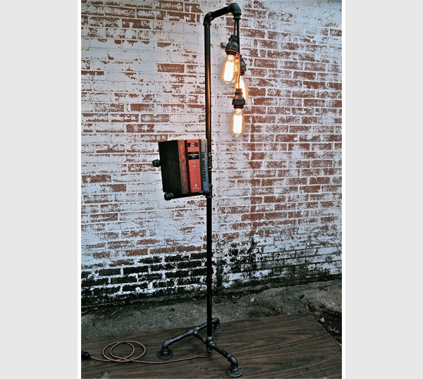 industrial floor lamp and book rack