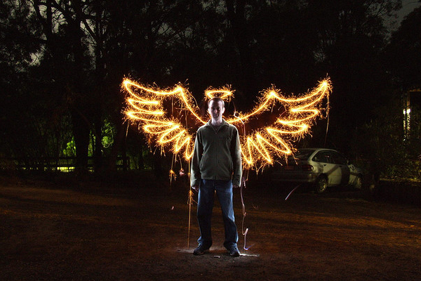 light painting photography angel