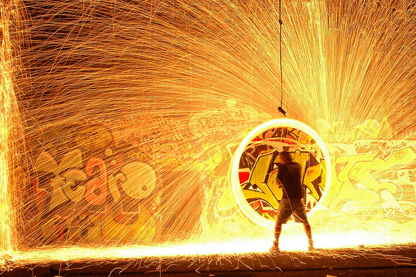 light painting fire