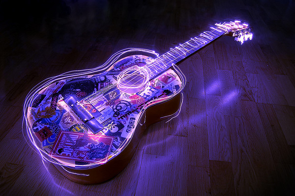 light painting guitar
