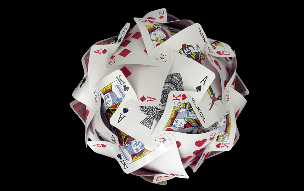 playing cards sculpture