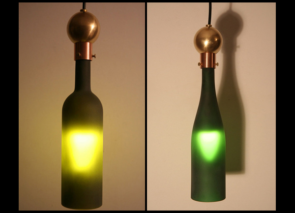 Kevin sutton recycling wine bottles to create beautiful light fixtures lights and lights - Wine bottle pendant light ...