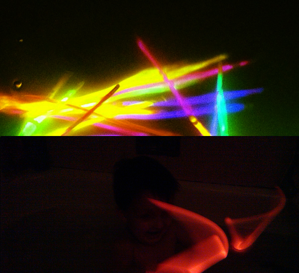 Glow Sticks Bath Tub