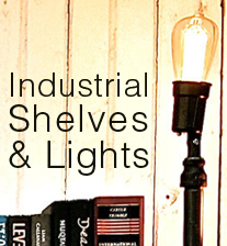 industrial shelves and lights