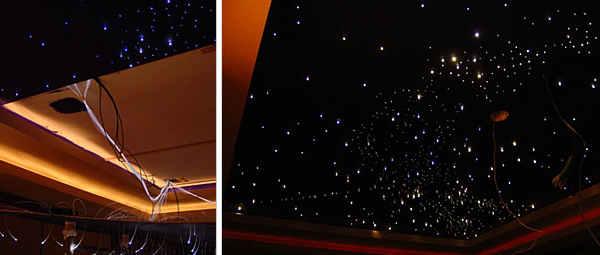 DIY fiber optic constellation ceiling