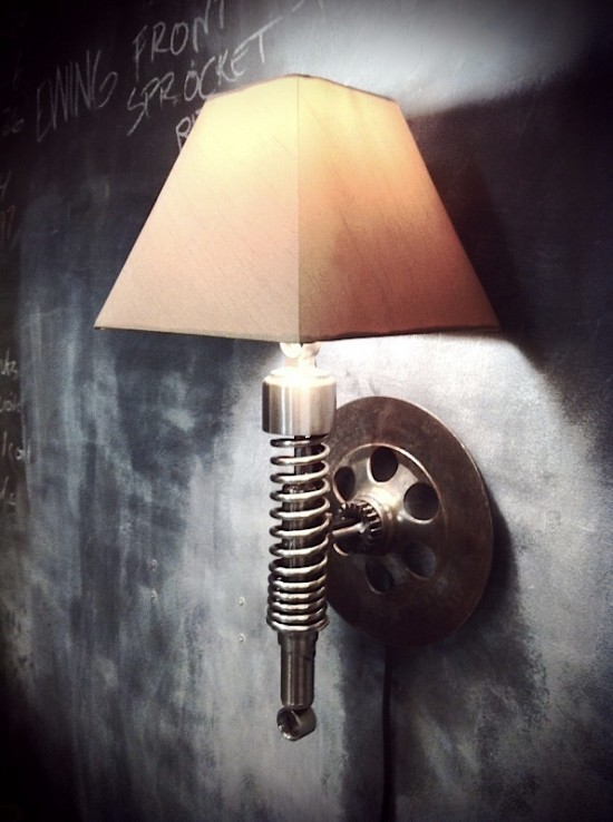 recycled motorbike parts wall lamp