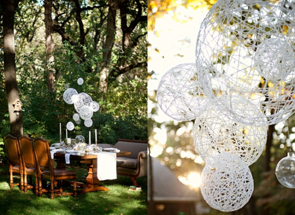 Diy string chandelier perfect for wedding decor lights and lights diy string chandelier mozeypictures Choice Image