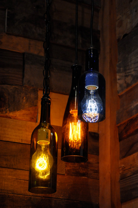 recycled wine bottle lights