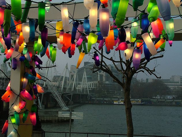London Light Display Recycled Bottles